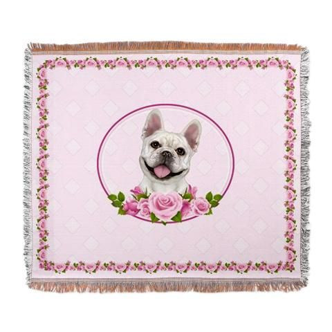 www.doggination.com  -  cream French Bulldog pink roses woven blanket