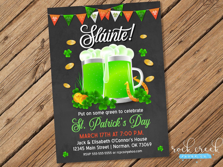 St Patrick S Day Invitation Green Beer Party Pub Crawl Invitation