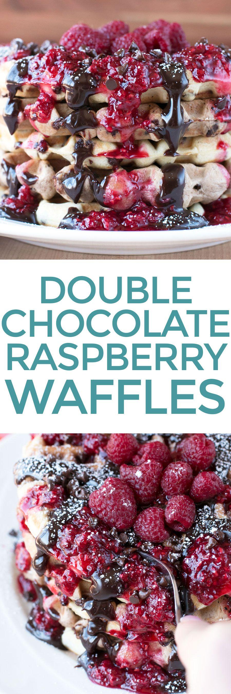 Double chocolate chip raspberry waffles recipe