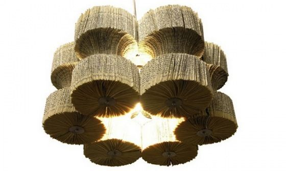 A chandelier made from books!