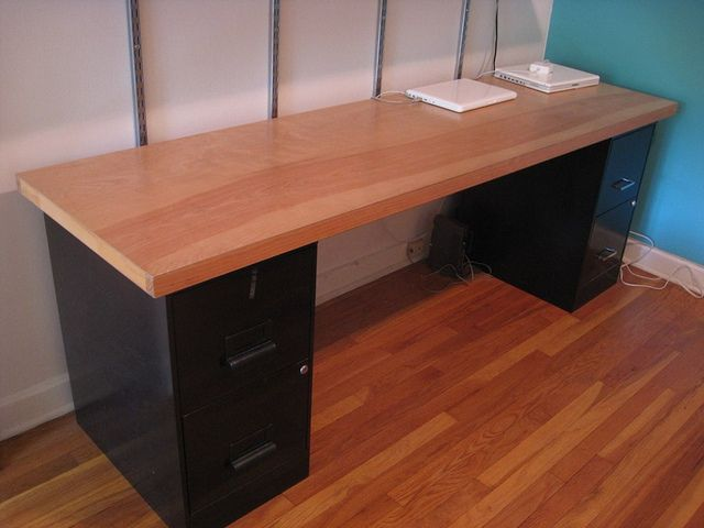 Solid Wood Door Desk 24 X 84 Desk Top 30 Metal Filing Cabinets 10 Each Door Desk Diy Wood Desk Homemade Desk