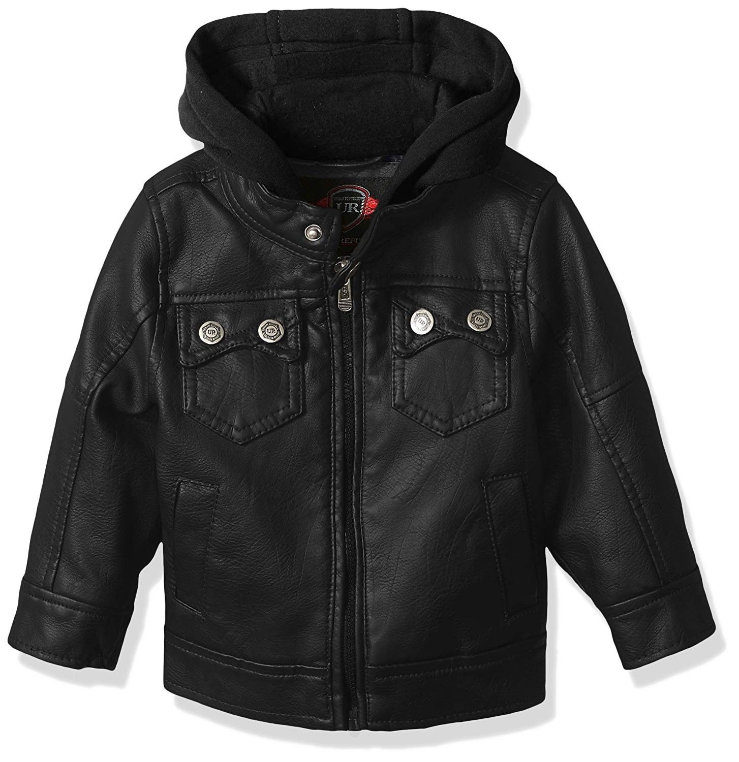 Baby Boys Artsy Faux Leather Jacket with Patch Pocket