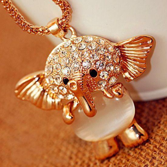 Image of  [grhmf21000014]Rhinestone Crystal Opal Elephant Necklace