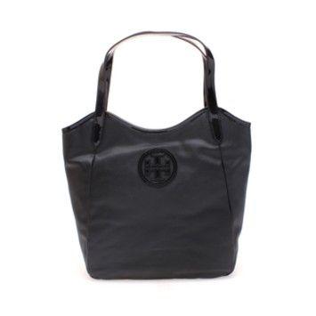 b1b711c35096 The Tory Burch Black Dipped Canvas Stacked Logo Handbag Tote Bag is a top  10 member favorite on Tradesy.