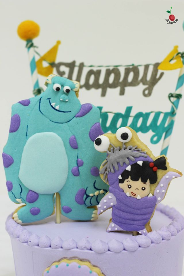Monsters, Inc. Sulley & Boo Birthday Cake Icing cookies