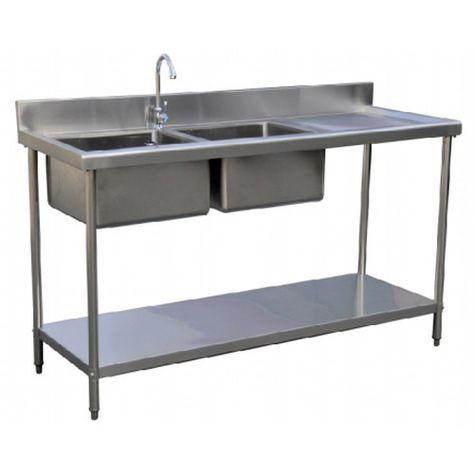 Assemble Two Tier Folding Sink Bench Stainless Steel Kitchen Work Table