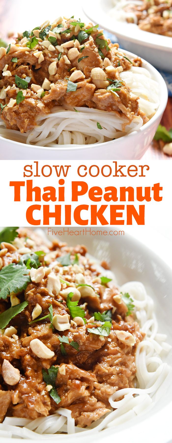 AMAZING Slow Cooker Thai Peanut Chicken • FIVEheartHOME