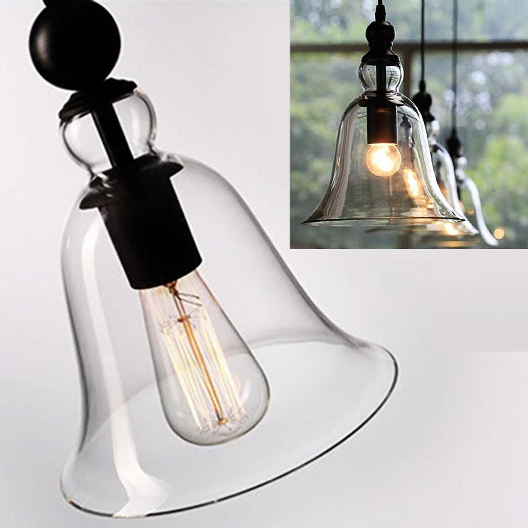 Fashine 1 Light Vintage Style Hanging Big Bell Glass Shade Transparent Clear Chandelier Ceiling Chandelier Ceiling Lights Ceiling Lights Kitchen Ceiling Lights