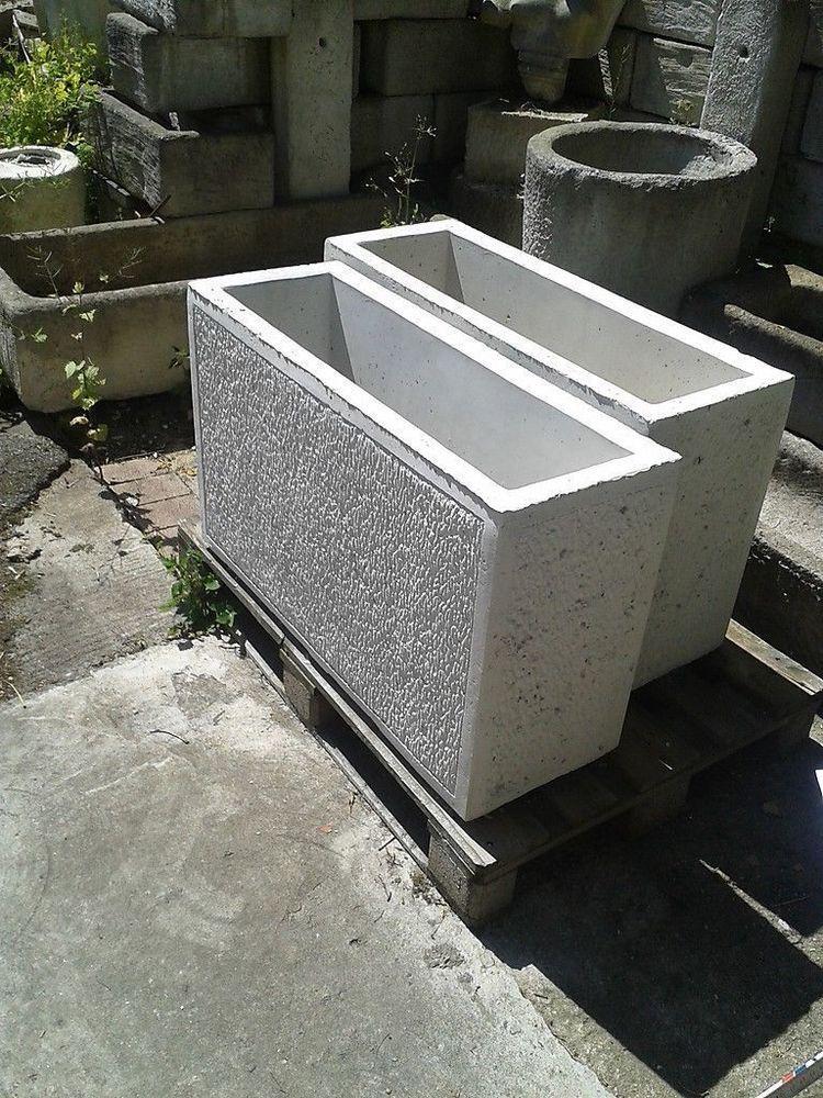 blumentrog pflanzkasten beton rechteckig grau sandstein mats in garten terrasse pflanzzubeh r. Black Bedroom Furniture Sets. Home Design Ideas