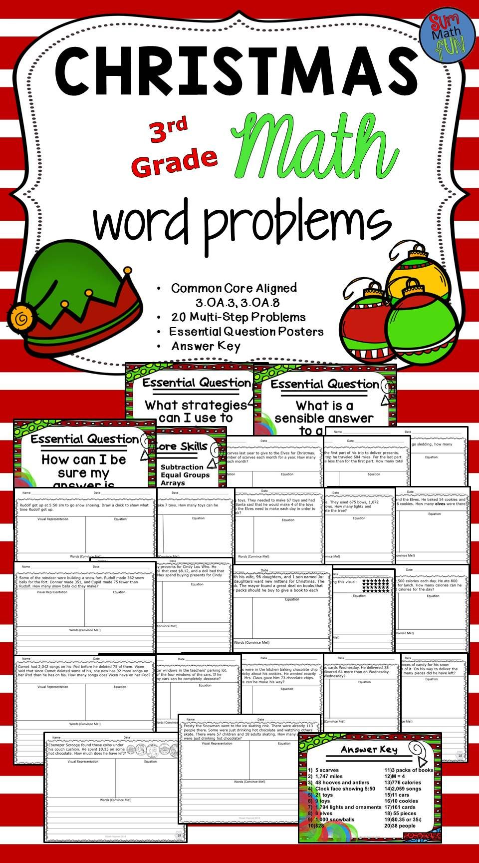 Christmas Math Word Problems Third Grade Multiple Operations ...