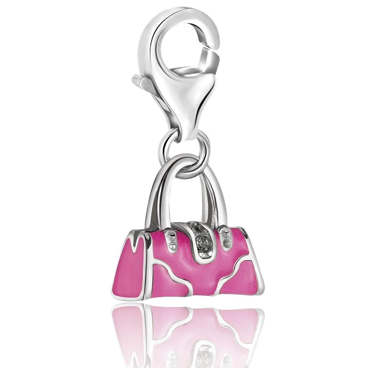 Sterling Silver Pink Enameled Handbag Charm With Crystal Lock Detailing