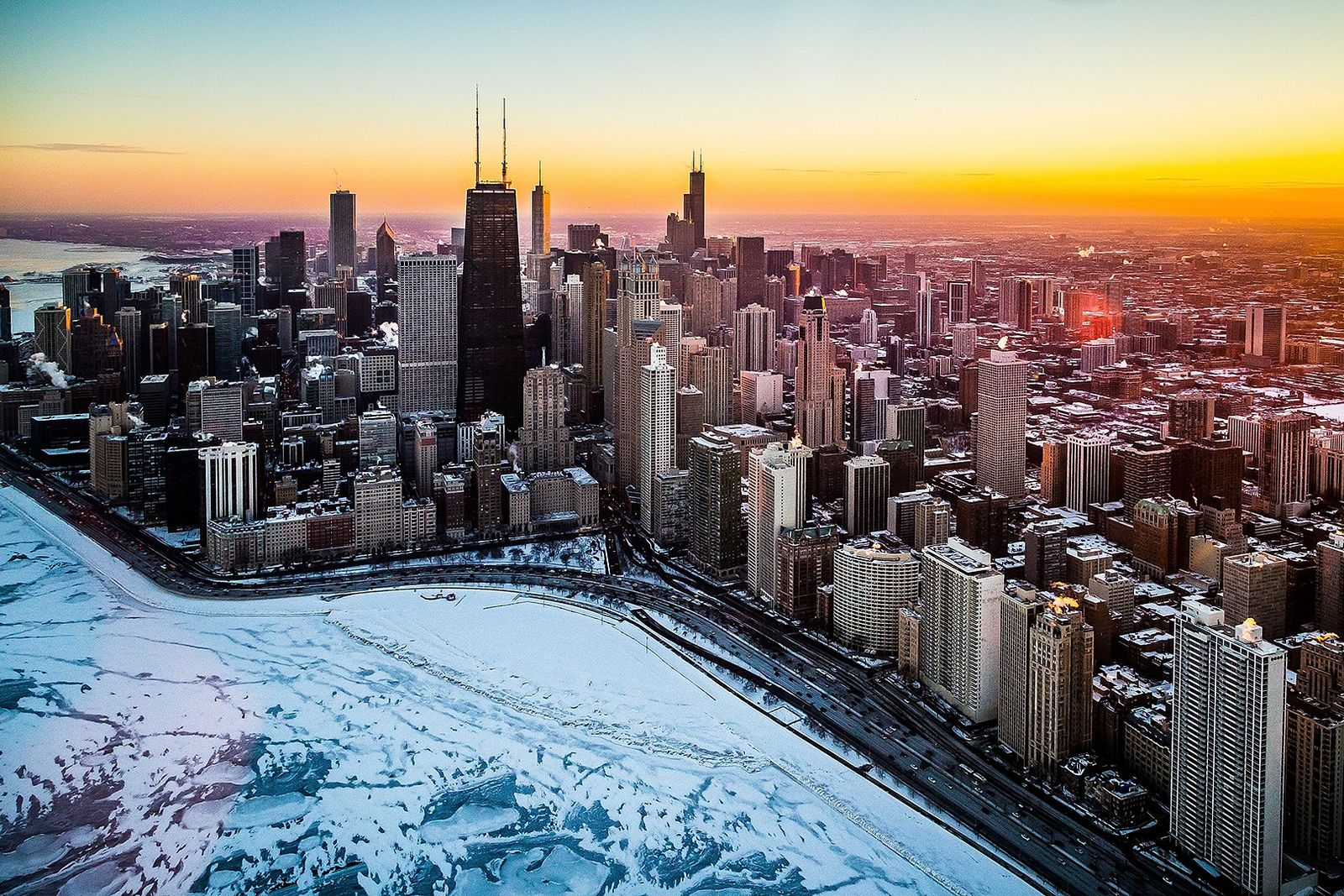 Chicago Winter Sunset Winter Sunset Chicago Winter City Landscape