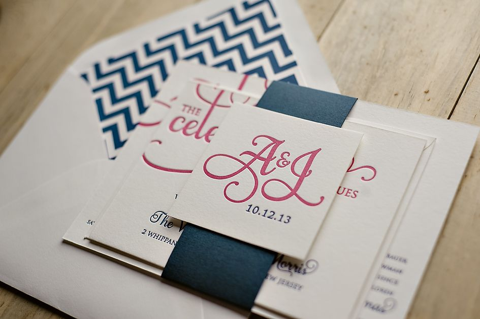 pink and navy wedding invitations chevron wedding invitations letterpress - Navy And Blush Wedding Invitations