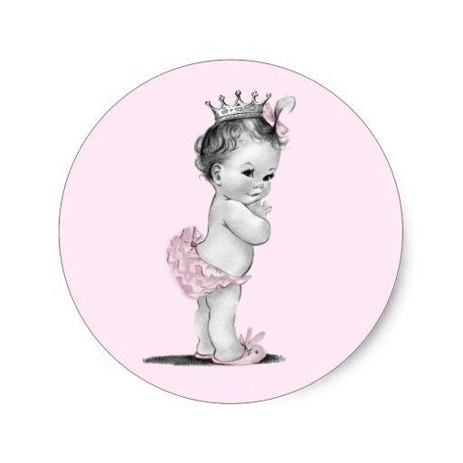 Vintage Pink Princess Baby Shower Stickers   ♥♥\
