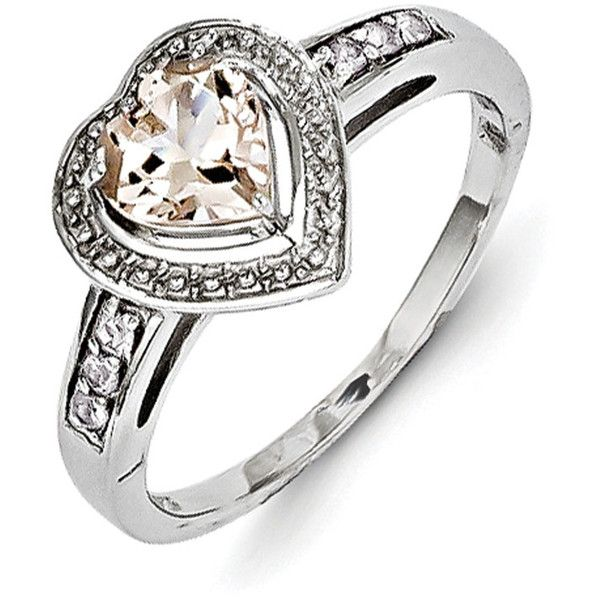 Sterling Silver Morganite Heart Ring ($133) ❤ liked on Polyvore featuring jewelry, rings, sterling silver, heart shaped rings, heart ring, sterling silver heart shaped rings, sterling silver jewellery and sterling silver heart jewelry