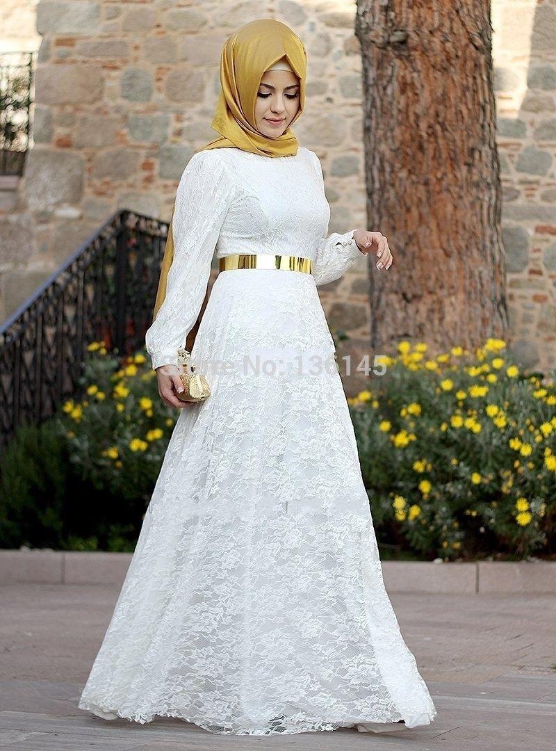 2015 New Arrival Lace Muslim Wedding Dress White Long Sleeve Kaftan ...
