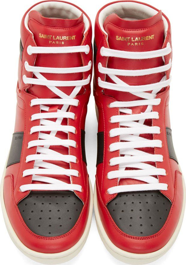 ac5d6862d53b Saint Laurent Red   Black SL 10 Court Classic High-Top Sneakers ...