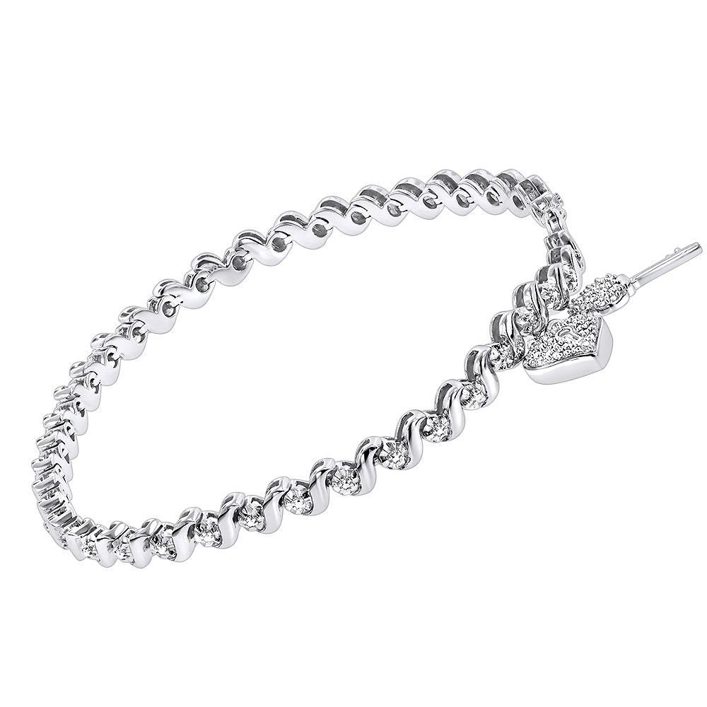 Silver diamond heart lock charm bracelet ct momus day ideas