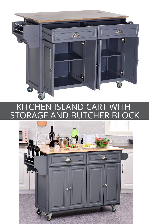 Homcom Rolling Oak Wood Drop Leaf Kitchen Island Cart With Storage And Butcher Block Grey Kitchen Island Cart Drop Leaf Kitchen Island Kitchen