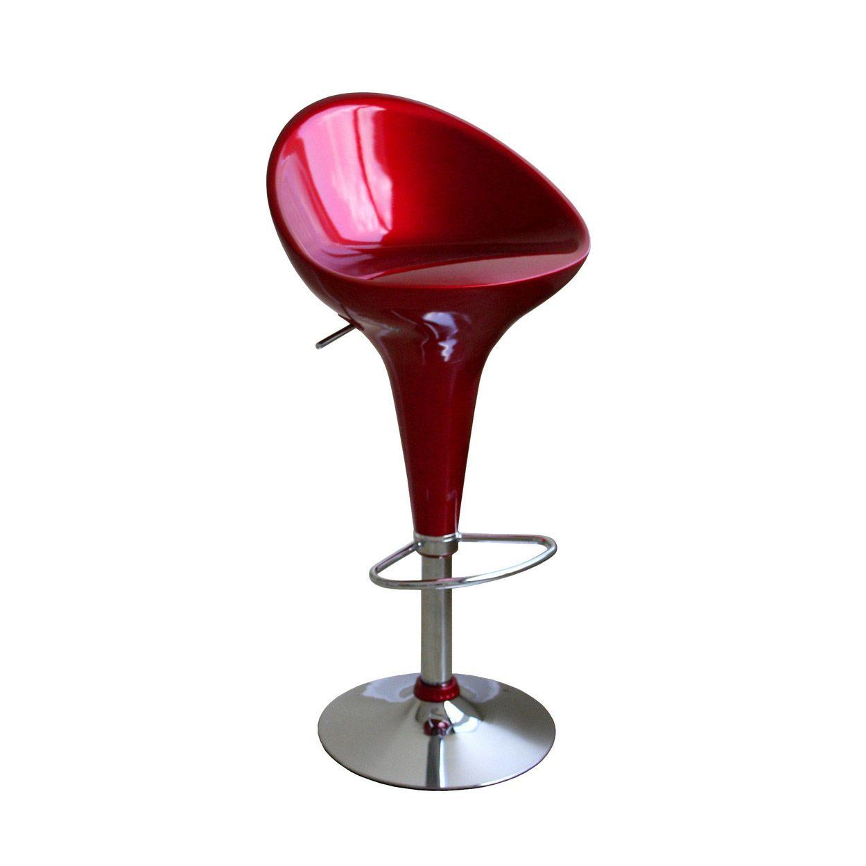 High Pedestal Barstool In Red Affordable Modern Furniture Adjustable Bar Stools Dot And Bo