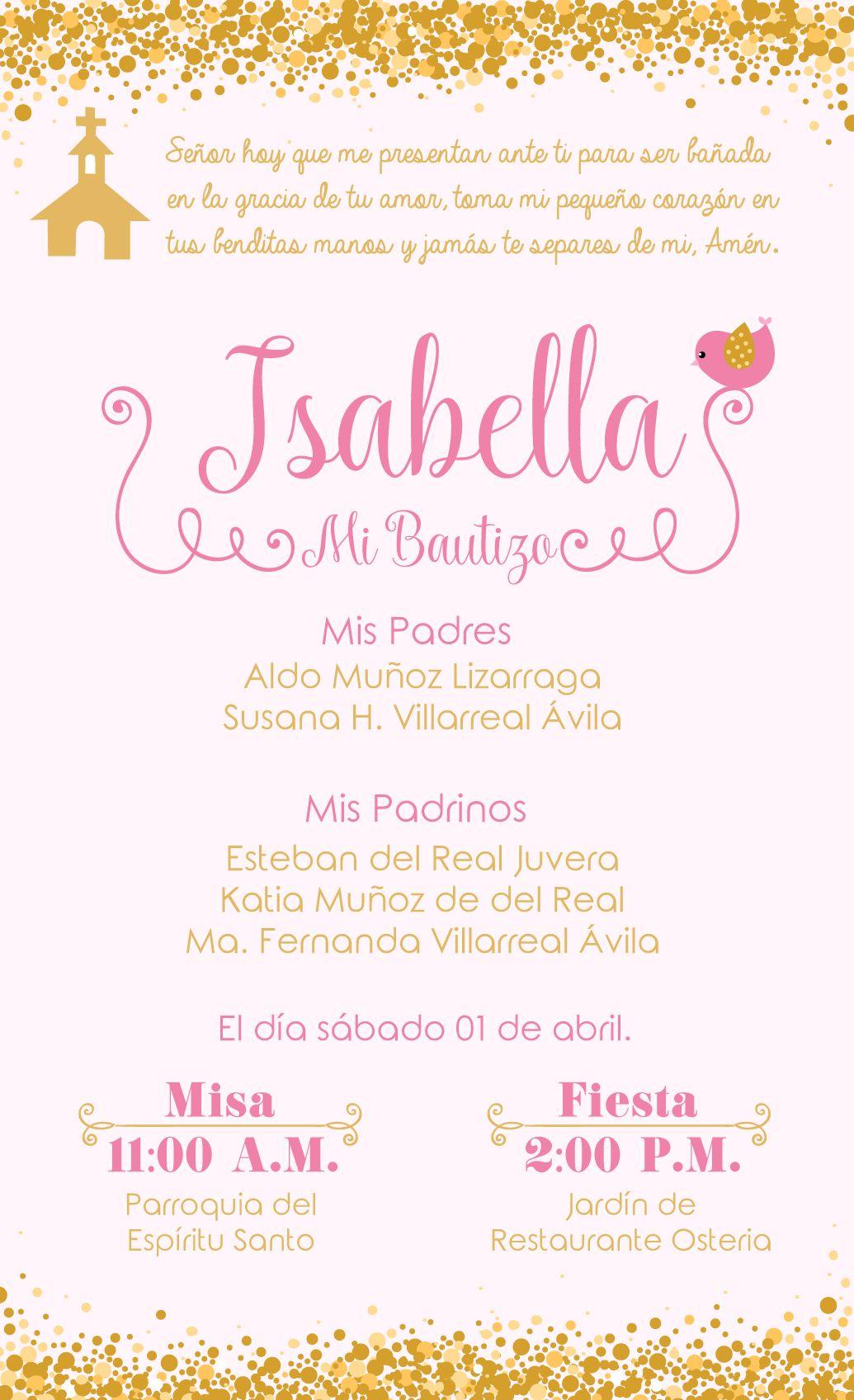 Josefa Y Julieta Oraciones De Bautizo Invitaciones