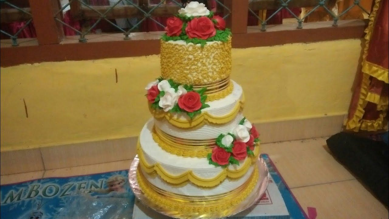 Kue Pengantin 3 Tingkat Warna Gold Youtube With Images