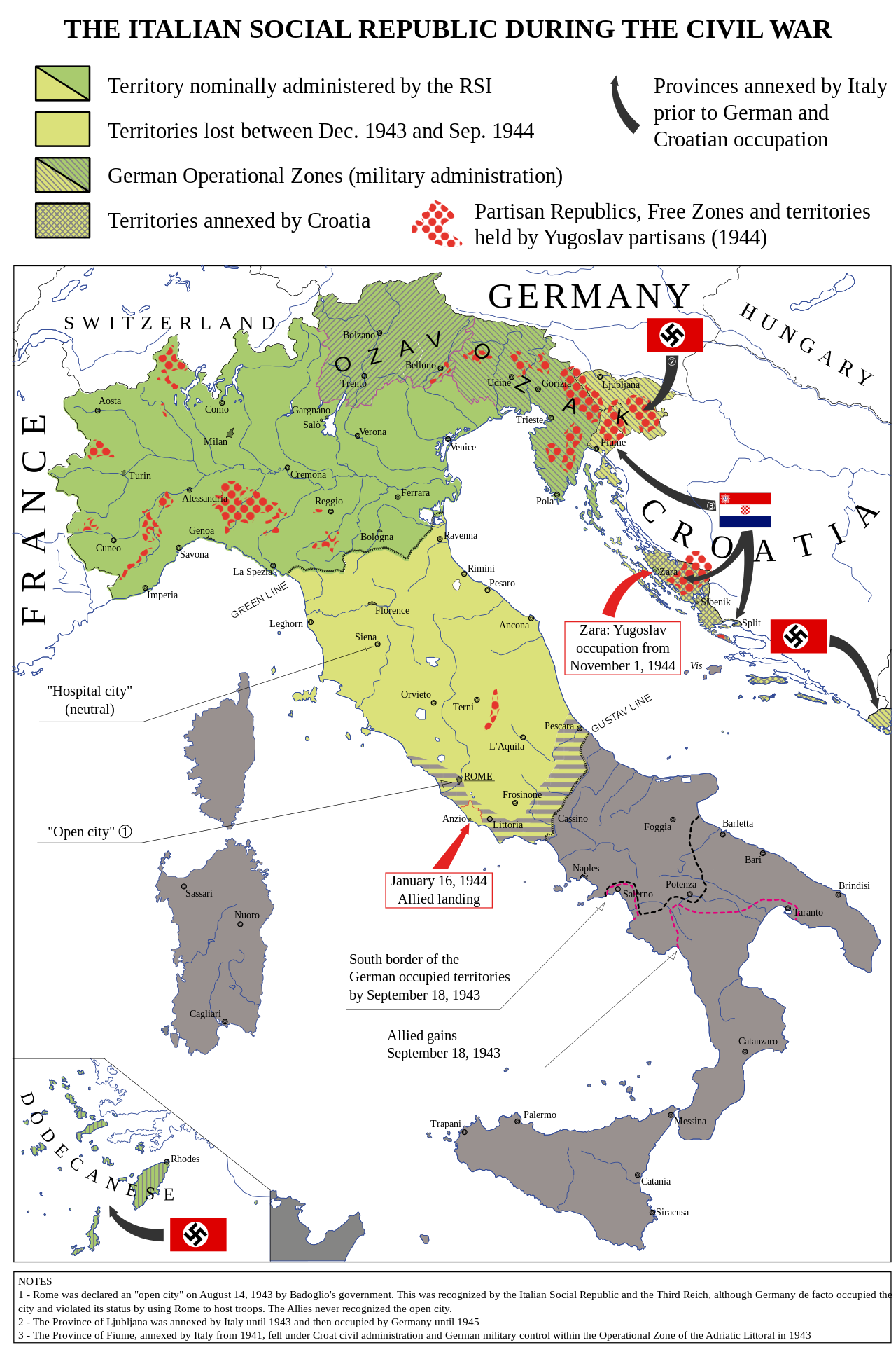 Map Of The Italian Social Republic 1943 1945 Its Territory Was The Theatre Of The Civil War Italy Map Historical Maps Map
