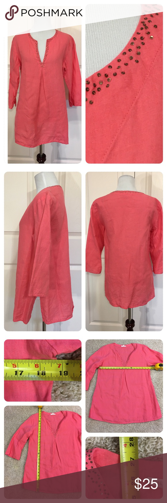 """Eileen Fisher linen tunic Irish linen coral tunic from Eileen Fisher. Beaded collar. Two small """"linen snags"""" as shown on last pic. Price reduced. Eileen Fisher Tops"""