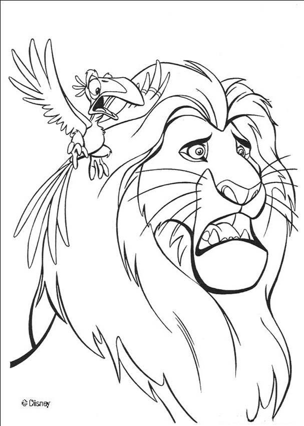 zazu warns mufasa coloring page - Mufasa Coloring Pages