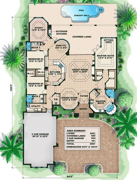 Plan 66034we Distinctive Villa House Plan Florida House Plans Mediterranean House Plan How To Plan