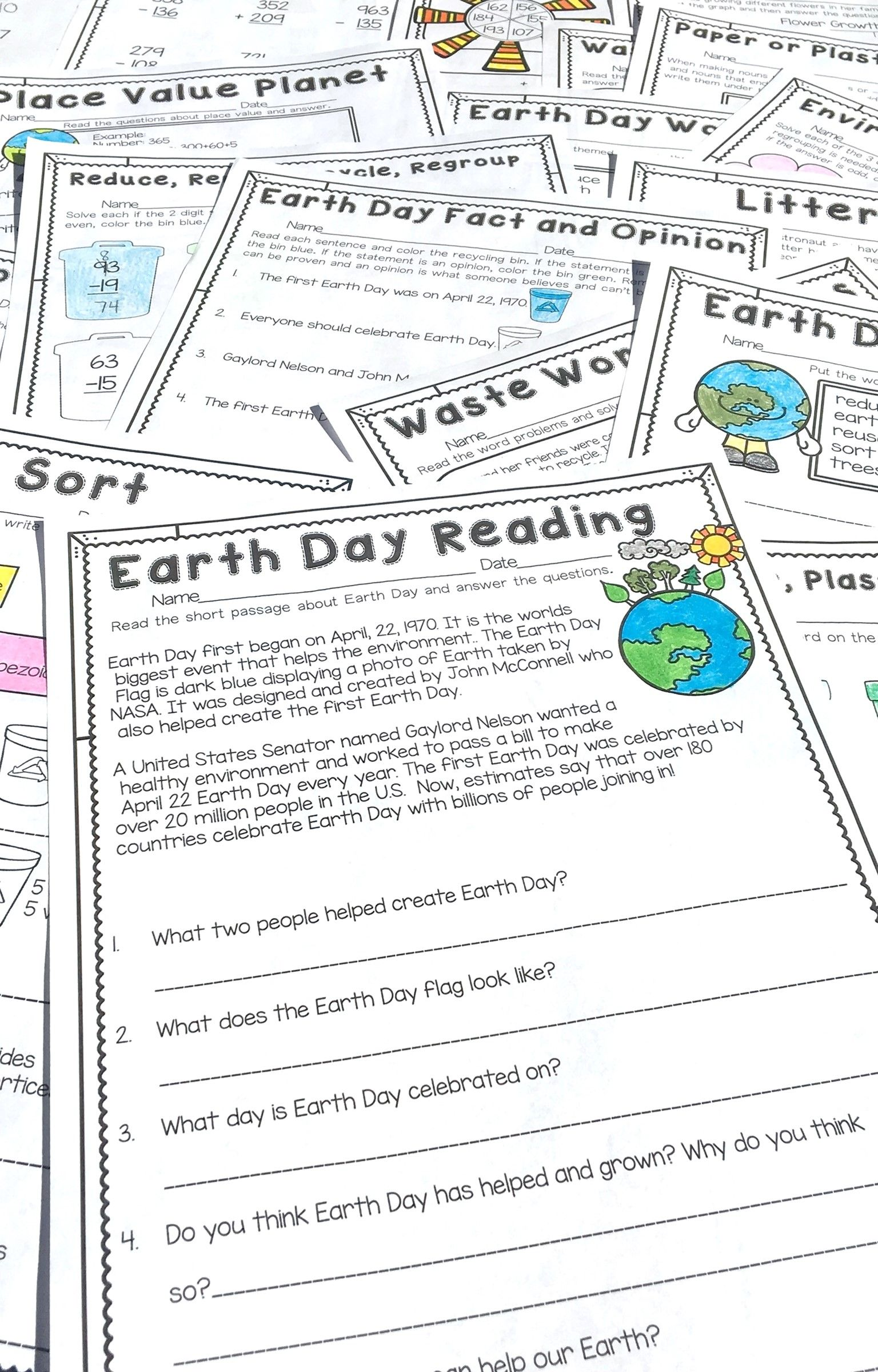 Earth Day Literacy And Math No Prep Second Grade