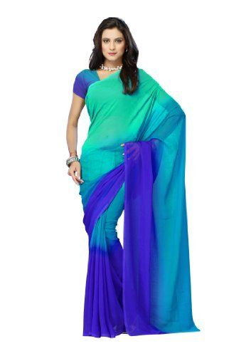 b61f5df665 Indian Designer Wear Chiffon Padding Green Plain Saree Fabdeal, http://www.