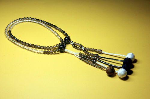 Japones-Budista-Nichiren-SGI-Mala-oracao-Clara-Smoky-Crystal-Beads-Tecido-Bolas-Rosario