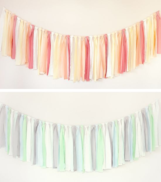 made with colored fabric strips and would look adorable behind a dessert table or layered in a photo booth.