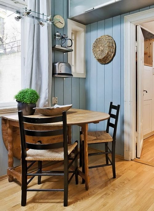 Love The Fold Down Round Table Pushed Up Against Walk For Space Saving.