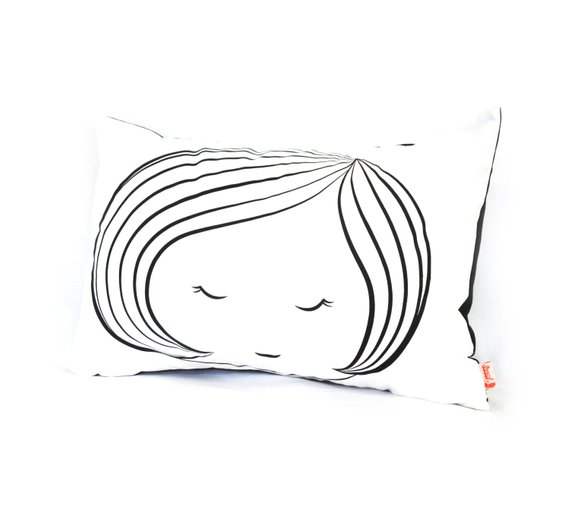 Black Print on White Cotton Girl Face Rectangle Pillow in 2018 ... ef7630a9cb