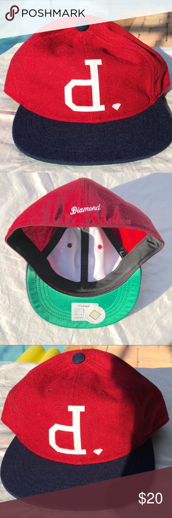 "Diamond ""P"" Baseball Cap NWT Red & Blue Diamond Baseball"