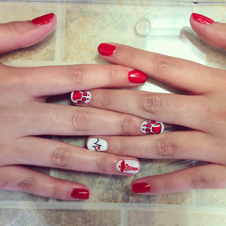 Lobo/nursing nail art, opi, gel manicure, UNM lobos, EKG wave, RN ...