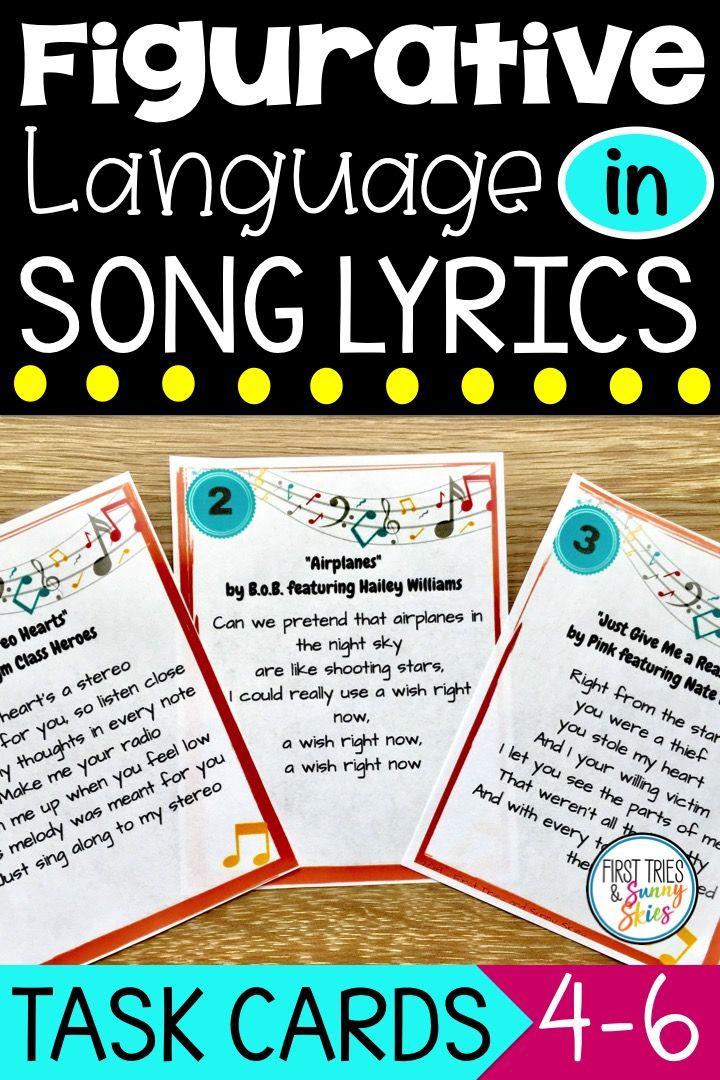 Figurative Language in Song Lyrics Task Cards Figurative