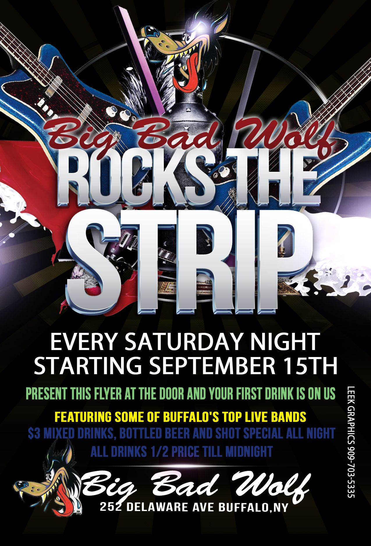 rock the stripe with big bad wolf promotion flyer by leek graphics