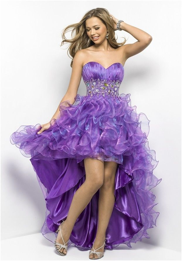 2013 prom high-low dresses | High Low 2013 Sweetheart Purple Organza ...