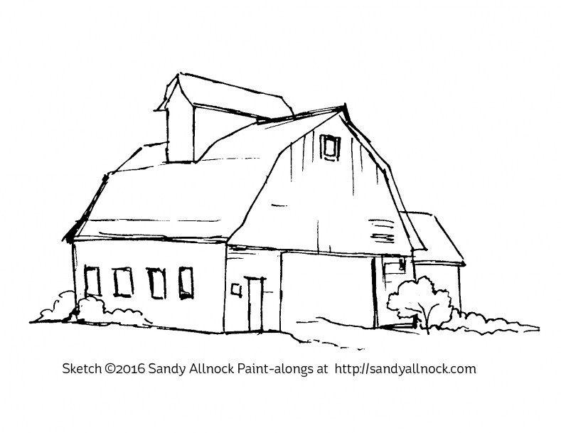 Simple Barn Sketch