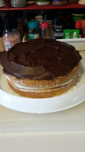 Boston Creme style cake with cream cheese flavored pudding in the middle.