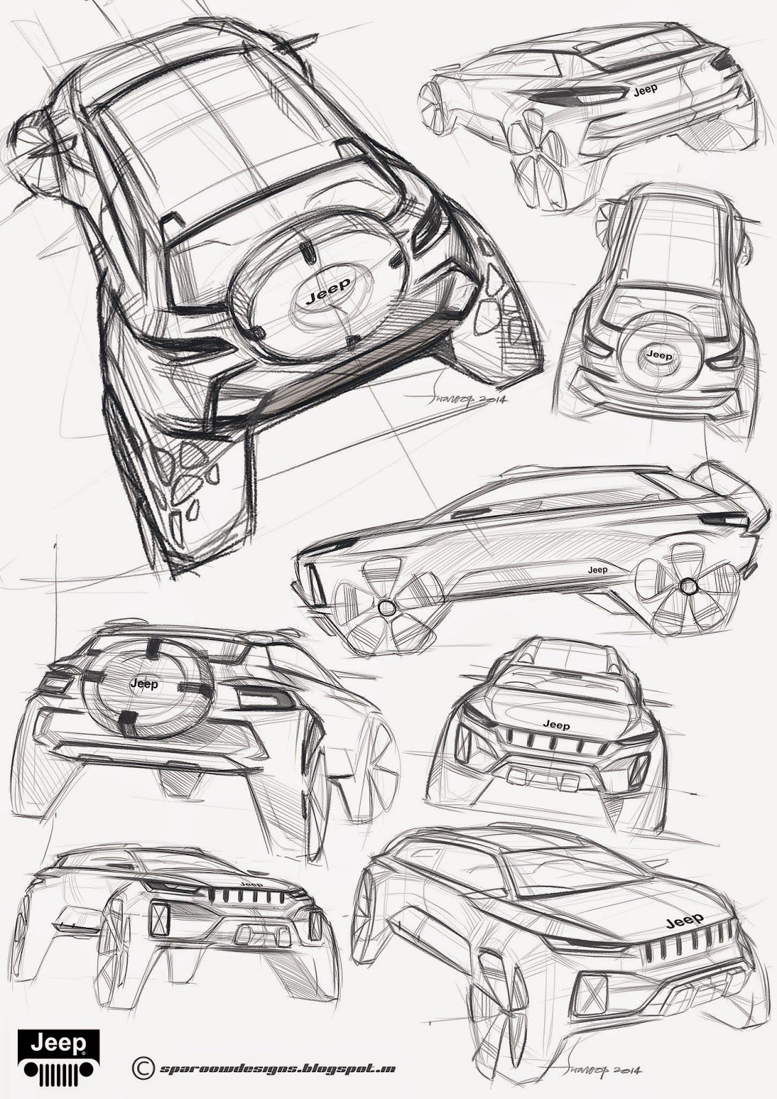 SPAROOW DESIGNS: Jeep | CAR SKETCH | Pinterest | Auto Zeichnungen ...