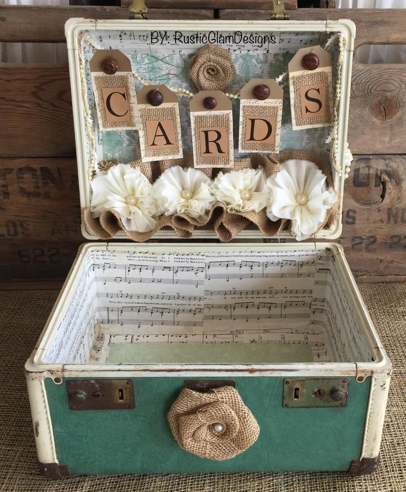 Vintage Suitcase Wedding Card Holder Rustic Wedding gift table card box Turquoise Country Wedding