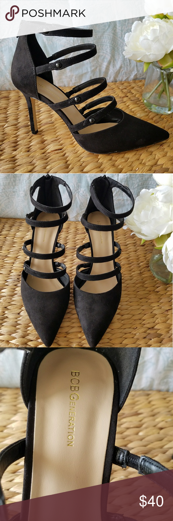 BCBGeneration black strap heels Worn just once, they are in perfect condition. BCBGeneration Shoes Heels