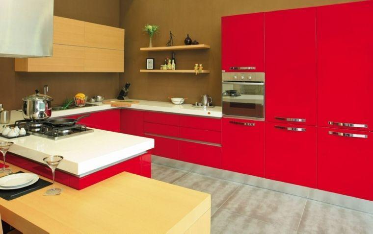 cuisine rouge buffet bois carrelage gris moderne design four - Photo Cuisine Rouge Et Grise