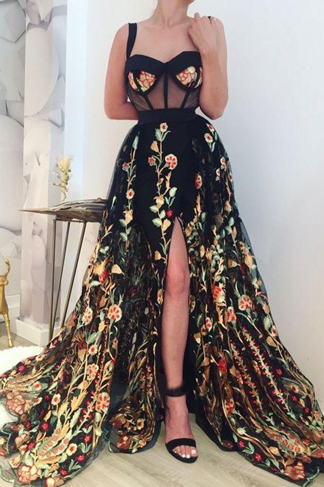 2019 Precioso vestido de bola Correas de novia Dividir apliques de colores Vestidos largos de fiesta largos US$ 268.00 VTOPQYJAAKK - VestidoBello.com