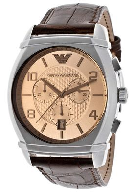 Emporio Armani Men's Amber Dial Brown Embossed Genuine Leather