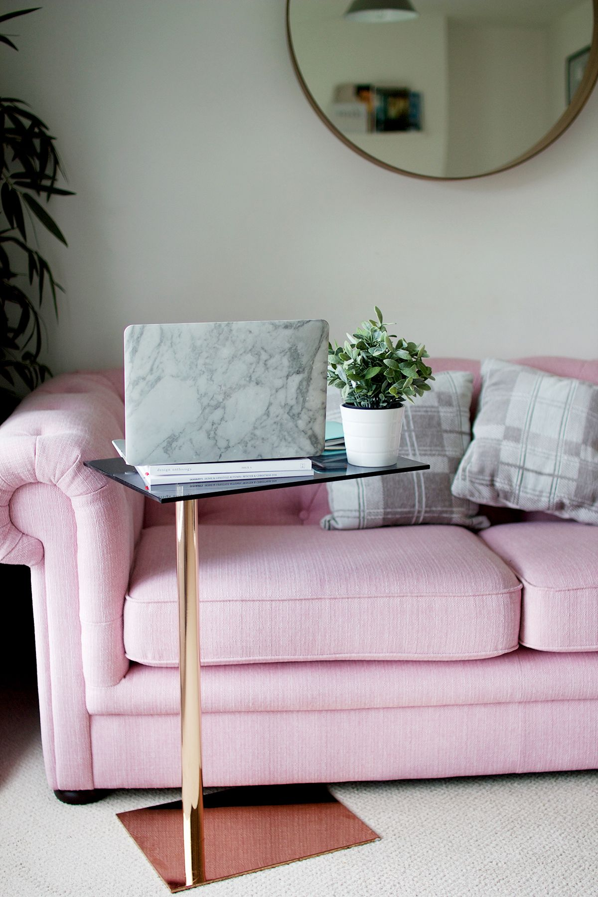 Pink Opera Sofa with a hint of marble I dearlittledaisy blog I https://